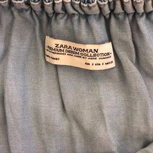 Zara Dresses - Zara Ruffled Off-The-Shoulder Chambray Mini Dress